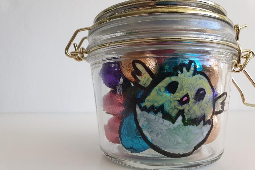 Weckpot versieren voor Pasen